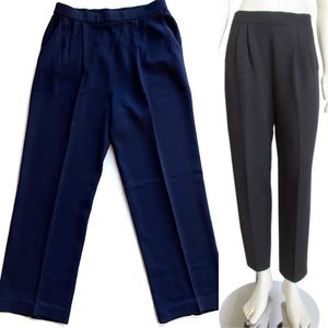 St. John Collection Navy Knit Santana Pleat Pants